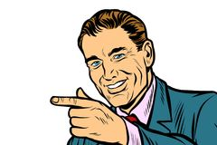 Feche acima do homem que aponta o isolado do dedo no fundo branco Imagens de Stock