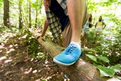 Feche acima do homem que escala sobre o tronco de árvore nas madeiras Fotografia de Stock Royalty Free