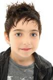 Feche acima do menino com olhos côr de avelã imagens de stock royalty free