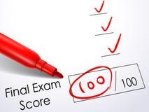 Feche acima do olhar na contagem no papel do exame final ilustração royalty free