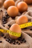 Feche acima do ovo e da fita métrica da vida imóvel no pano marrom Imagem de Stock Royalty Free
