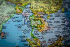 Feche acima do país de Tailândia em um mapa do mundo fotos de stock