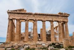 Feche acima do Partenon na acrópole em Atenas de Grécia Fotos de Stock Royalty Free