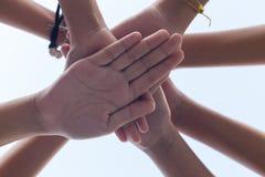 Feche acima do poder da menina da mão, trabalhos de equipa que empilham a mão imagem de stock