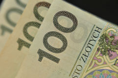 Feche acima do polonês 100 notas do zloty Fotos de Stock