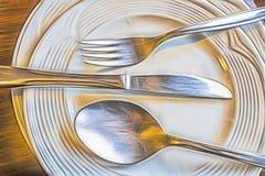 Feche acima do prato sujo após a refeição foto de stock royalty free