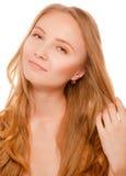Feche acima do retrato da jovem mulher bonita imagens de stock