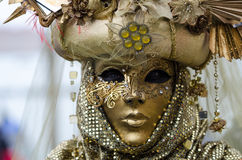 Feche acima do retrato da máscara fêmea em Veneza Fotos de Stock Royalty Free