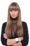 Feche acima do retrato da mulher de negócio certa nova Imagem de Stock Royalty Free