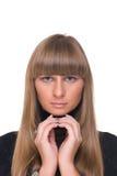 Feche acima do retrato da mulher de negócio certa nova Imagens de Stock Royalty Free