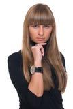 Feche acima do retrato da mulher de negócio certa nova Imagem de Stock