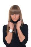 Feche acima do retrato da mulher de negócio certa nova Fotos de Stock
