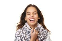 Feche acima do retrato de um riso da jovem mulher fotos de stock royalty free