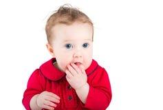 Feche acima do retrato do bebê com olhos azuis grandes Imagem de Stock Royalty Free