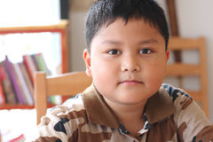 Feche acima do retrato do menino asiático bonito Fotografia de Stock