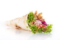 Feche acima do sanduíche do no espeto no branco fotos de stock