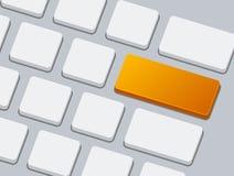Feche acima do teclado com o um botão vazio alaranjado Imagens de Stock Royalty Free