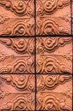 Feche acima do tijolo vermelho com testes padrões Fotos de Stock Royalty Free