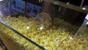 Feche acima do tiro da mão do homem que enche a cubeta plástica grande com o milho fritado pipoca do caramelo do queijo no cinema vídeos de arquivo