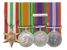 Feche acima do tiro das medalhas de prata e de bronze Fotografia de Stock