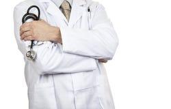 Feche acima do tiro de um doutor que guarda seu estetoscópio Imagens de Stock