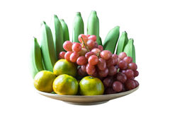 Feche acima do tiro dos diversos o tipo dos frutos na tabela de madeira Fotografia de Stock