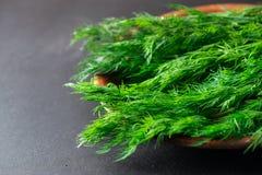 Feche acima do tiro macro de ervas verdes frescas do aneto em uma placa fotos de stock royalty free
