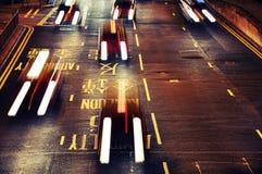 Feche acima do tráfego em Hong Kong Imagem de Stock