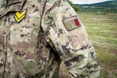 Feche acima do uniforme do soldado italiano, embandeire e classifique Foto de Stock Royalty Free