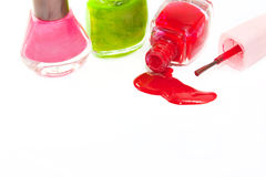 Feche acima do verniz para as unhas das garrafas Imagens de Stock Royalty Free