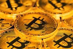 Feche acima dos bitcoins Foto de Stock Royalty Free