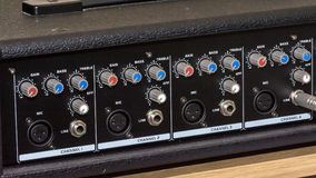 Feche acima dos botões do misturador da música Imagens de Stock Royalty Free