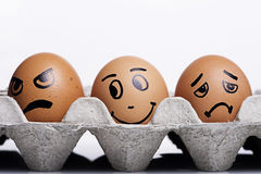 Feche acima dos caráteres dos ovos Fotografia de Stock Royalty Free