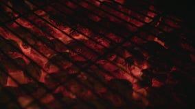 Feche acima dos carvões amassados quentes de incandescência do carvão vegetal video estoque