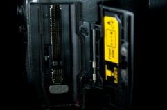 Feche acima dos conectores instantâneos compactos DSLR imagem de stock