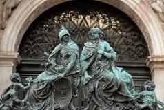 Feche acima dos detalhes de porta Veneza, Italy Imagem de Stock