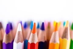 Feche acima dos lápis coloridos sem emenda enfileiram isolado no fundo branco Lápis coloridos com espaço da cópia para seu texto Fotografia de Stock Royalty Free