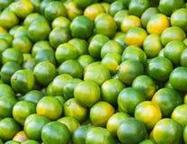 Feche acima dos mandarino verdes frescos no mercado Pode ser usado como um foco seletivo do fundo do alimento foto de stock royalty free