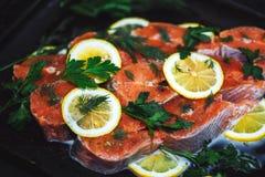 Feche acima dos peixes vermelhos cortados com fatias de limão e de aneto Um prato delicioso fotografia de stock