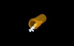 Feche acima dos recipientes e da medicamentação da prescrição Fotos de Stock Royalty Free
