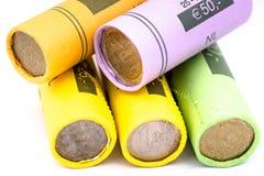 Feche acima dos rolos de moedas Fotos de Stock