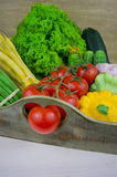 Feche acima dos vários vegetais crus coloridos Fotos de Stock Royalty Free