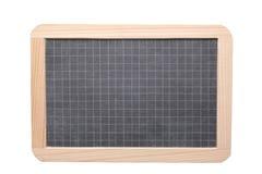 Feche acima em um quadro-negro vazio da ardósia isolado no fundo branco com espaço da cópia e trajeto de grampeamento Foto de Stock Royalty Free