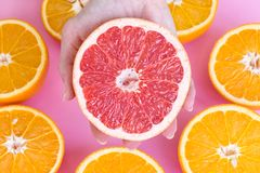 Feche acima em uma mão fêmea que guarda a metade de uma toranja vermelha madura com metades das laranjas fotografia de stock royalty free