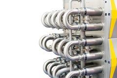Feche acima fora do tubo da caldeira de vapor para o vapor quente de transferência à água no cilindro isolado no fundo branco com fotos de stock royalty free
