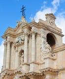 Feche acima a fotografia de surpreender a catedral de Siracusa no quadrado de Piazza Duomo em Siracusa, Sicília, Itália Amostra d imagens de stock royalty free