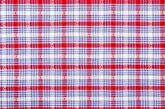 Feche acima na tela quadriculado da toalha de mesa Imagem de Stock