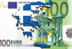 Feche acima no mapa de Grécia no fundo do dinheiro do Euro Foto de Stock