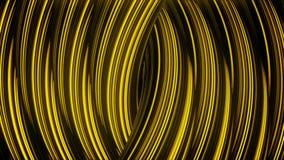 Feche acima para as correntes douradas torcidas sumário que movem-se lentamente, laço sem emenda animation Anéis curvados hipnóti ilustração royalty free