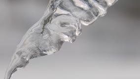 Feche acima para o sincelo de derretimento de suspens?o com gotas de fluxo contra o fundo cinzento borrado Metragem conservada em vídeos de arquivo